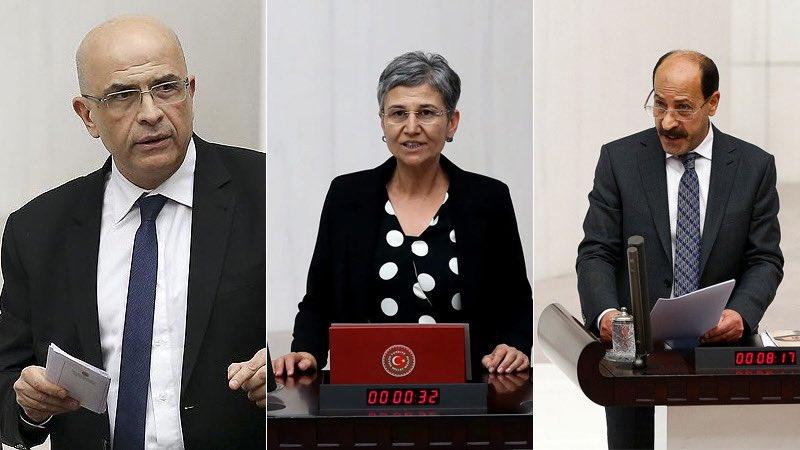 Enis Berberoğlu, Leyla Güven und Musa Farisoğulları (v. links) im türkischen Parlament.- Foto: T24